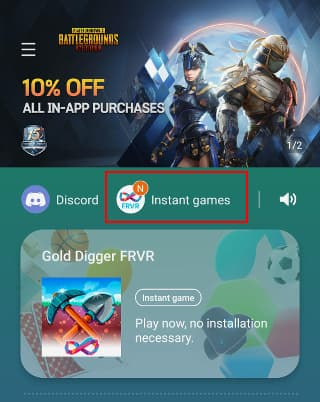 Samsung Game Launcher on an Android phone