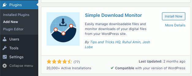 Simple Download Monitor WordPress plugin