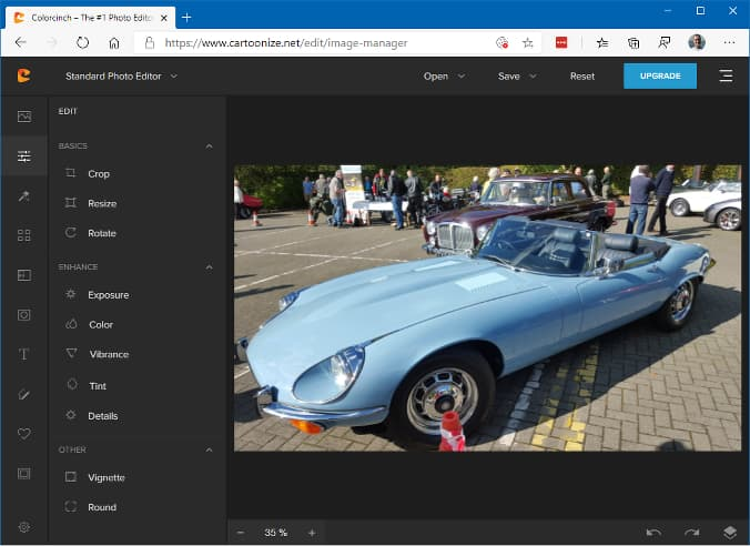 Colorcinch online photo editor runs n a browser
