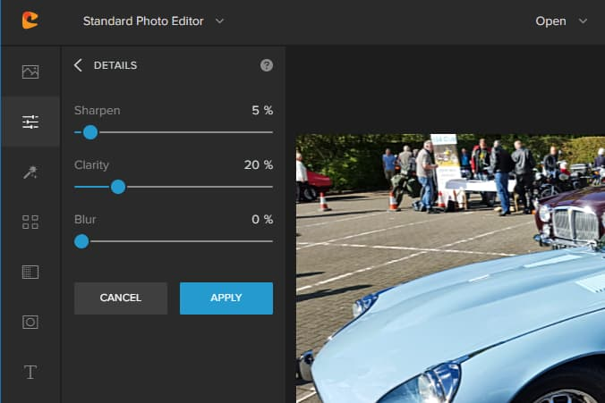 Colorcinch online photo editor photo correction functions
