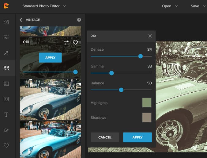 Colorcinch online photo editor filters