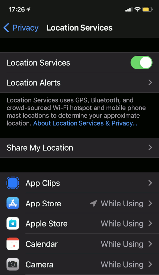 iOS location services on the iPhone
