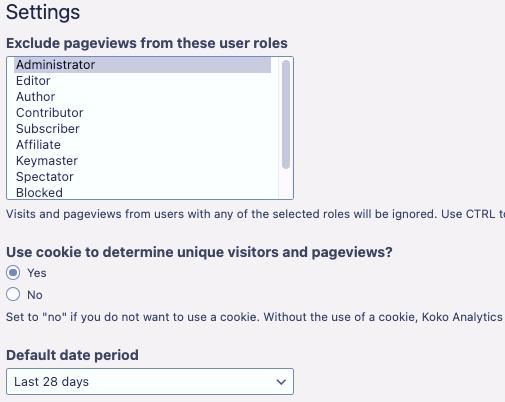 Koko Analytics WordPress plugin settings