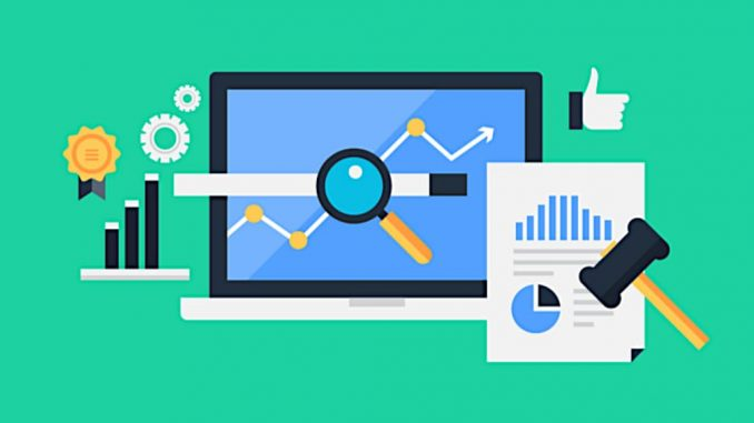 Computer and website and statistics illustration