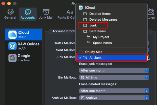 Choosing where to move junk mail to in the Apple Mac app on the Apple Mac
