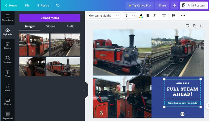 Using the Canva Photo Collages online tool