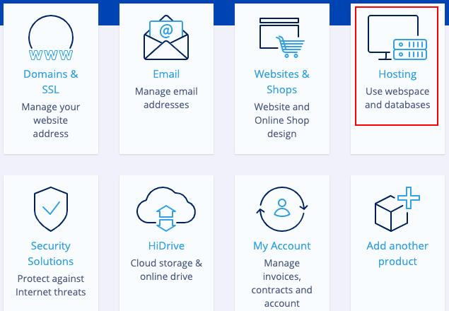 Ionos web hosting menu