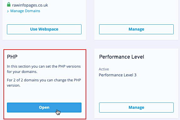 Ionos web hosting menu with settings