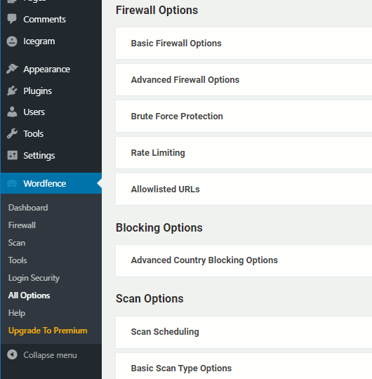 Settings in the Wordfence security plugin for WordPress websites