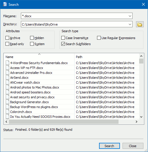 Searching the disk using Explorer++ utility for Windows PC