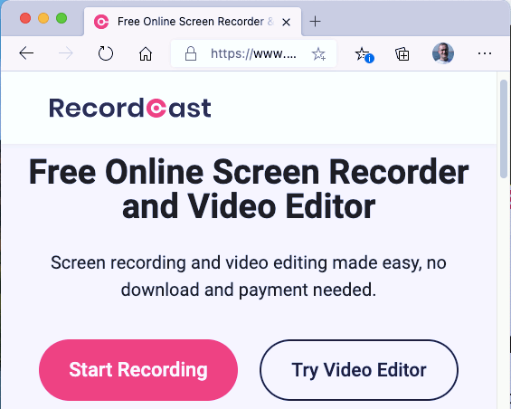 RecordCast website enables the computer screen to be recorded