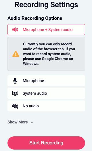 RecordCast screen recording options