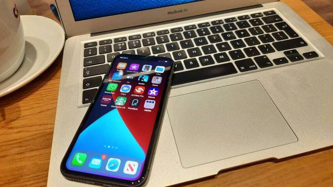 Apple iPhone on an Apple MacBook computer