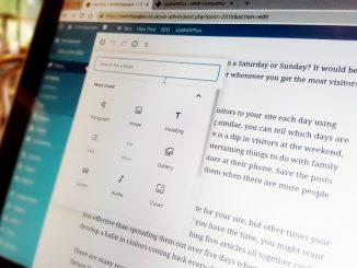 Creating a WordPress website on a laptop computer