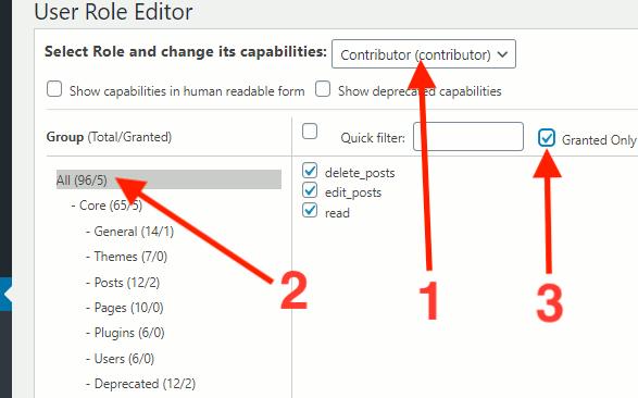 WordPress user role permissions shown in User Role Editor plugin