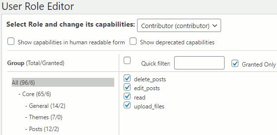 WordPress role permissions in User Role Editor plugin