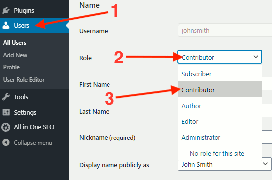 Set the user role in WordPress admin interface