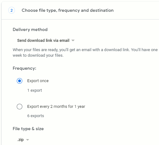 Google Takeout export options