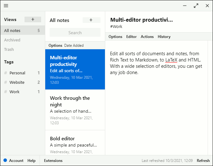 Standarnotes app running on Windows PC