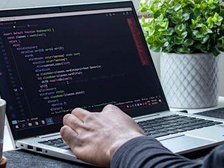 Website development on a laptop computer