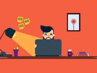 Illustration: Man sitting at a desk using a computer