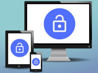 Computer screen, tablet and phone with a padlock: secure the internet