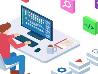 Web development illustration: Man sat at computer coding