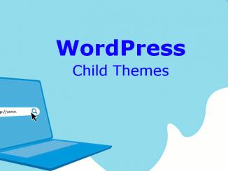 WordPress child themes and laptop illustration